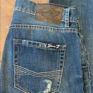 Seven 7 jeans destroyed dark wash straight cut men